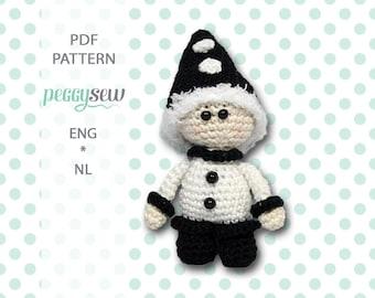Mini Pierrot, amigurumi crochet pattern