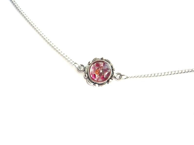 Pink choker Choker chain Pink gemstone necklace Tourmaline image 0