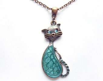 Cat necklace Cat pendant Blue resin necklace Cute blue turquoise cat pendant Cat lovers gift Resin pendant Cat jewelry Gift for girlfriend