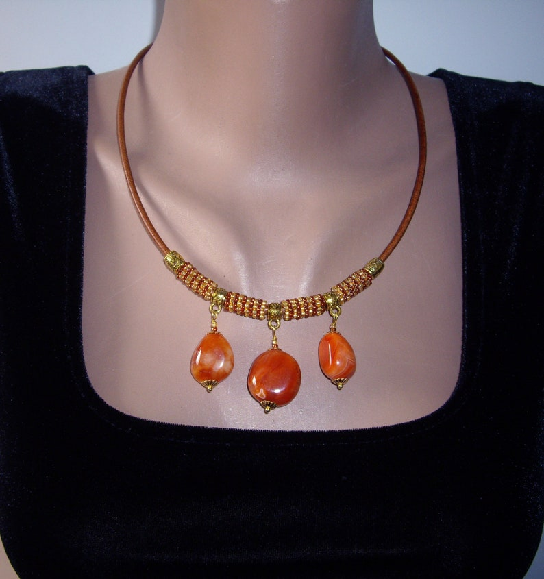 Carnelian necklace Bib necklace Leather necklace Seed bead image 1