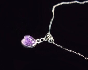 Amethyst crystal Stone choker Amethyst necklace Chain choker Dainty choker necklace Feburary birthstone Womens gift Purple choker Delicate