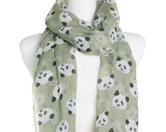 Sage Cute Panda Scarf / Retro Oversized Shawl / Womens Scarves / Christmas Gift For Her / Ladies Soft Wrap / Gift Idea / Zoo Animal Shawl