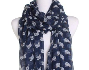 Blue Hen Print Scarf / Retro Oversized Shawl / Womens Scarves / Christmas Gift For Her / Ladies Soft Wrap / Gift Idea / Boho Fashion Shawl