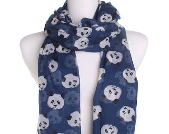 Navy Cute Panda Scarf / Retro Oversized Shawl / Womens Scarves / Christmas Gift For Her / Ladies Soft Wrap / Gift Idea / Zoo Animal Shawl
