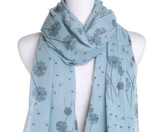 Dandelion Teal Scarf / Spring Summer Scarf / Autumn Scarf / Womens Scarves / Handmade Accessory / Birthday Christmas Idea / Gift For Her