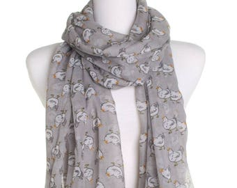 Grey Hen Print Scarf / Retro Oversized Shawl / Womens Scarves / Christmas Gift For Her / Ladies Soft Wrap / Gift Idea / Boho Fashion Shawl