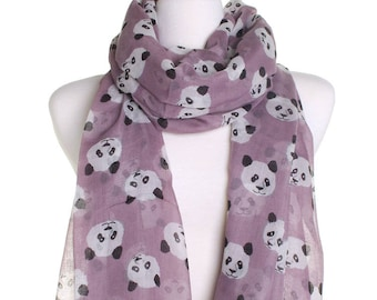 Mauve Cute Panda Scarf / Retro Oversized Shawl / Womens Scarves / Christmas Gift For Her / Ladies Soft Wrap / Gift Idea / Zoo Animal Shawl