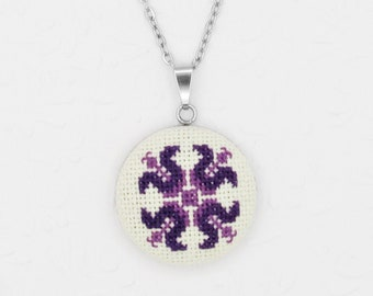 Necklace for woman with romanian motif in purple, Bohemian necklace Gift for wife from husband, Peasant blouse detail necklace from Romania