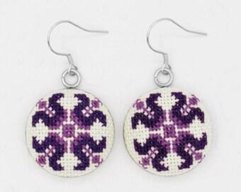 Romanian purple earrings gift for wife, round dangle earrings gift for sister, everyday earrings for women, Romanian blouse detail earrings
