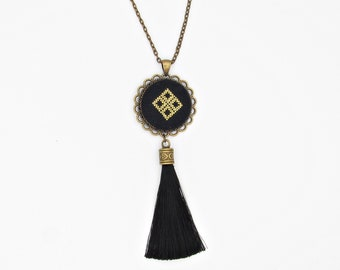 Black Tassel necklace, Black and gold embroidered pendant with black silk tassel, Long Bohemian necklace gift for romanian girl friend