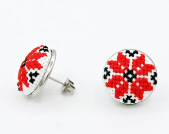 Black and red post earrings for wife, Red stud earrings for sister in law, traditional Romanian earrings birthday gift for romanian friend
