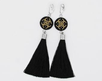 Black tassel clip on earrings gift for girlfriend, Statement clip on earrings gift from Romania, black fringe earrings gifts for women