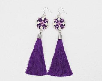 Purple Tassel earrings, gift from Romania, Statement earrings for sensitive ears, purple folk jewelry Romanian gift for girlfriend
