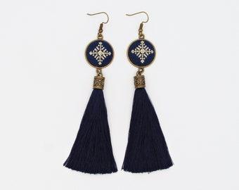 Navy tassel earrings from Romania, Hand embroidered statement earrings with romanian blouse detail, Long oversized dark blue earrings