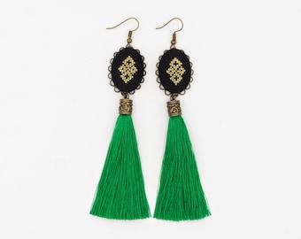 Long green unique earrings for women, grass green tassel earrings from Romania, modern gold green statement earring, black and gold earrings