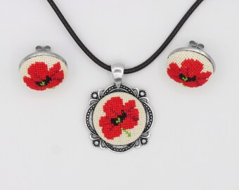 Poppy necklace and earrings set gift for mom, Red poppy pendant mother's day gift, Floral set Christmas gift from husband, mom birthday gift