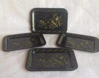 Vintage Tip Trays Small Tin Trays with Gold Asian Countryside and Bird Design on Black Lacquer Base Set of 4 Mini Decorative Trays