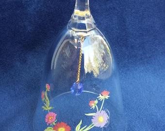 "Glass Bell  Goldtone Handle Decanter Avon 5/"" High"