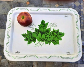 Vintage Metal Folding Tray White with Green Fruit and Wheat Pattern Mid Century TV Tray Vintage Bed Tray