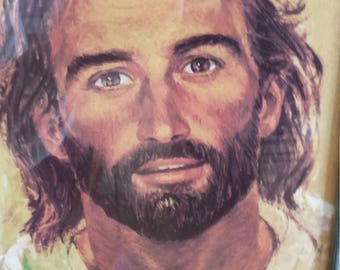 Jesus Lithograph by Artist R. Hook Mid Century Religious Art Work
