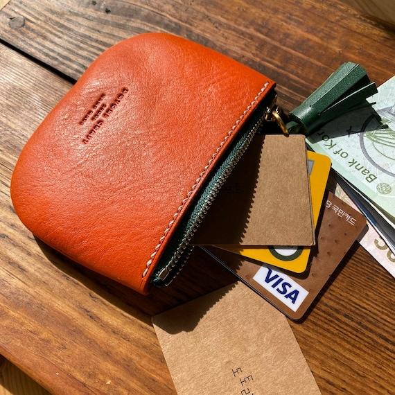 Gift for her/_Gift for kids Carro Carrot Zipper Wallet Women Green Tassel Orange Coin Purse Cute gift Leather Zipper Pouch/_Minimalist