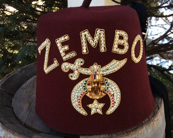 Vintage Masonic Fez Hat With Carrying Case And Accessories. 5818477acfdc