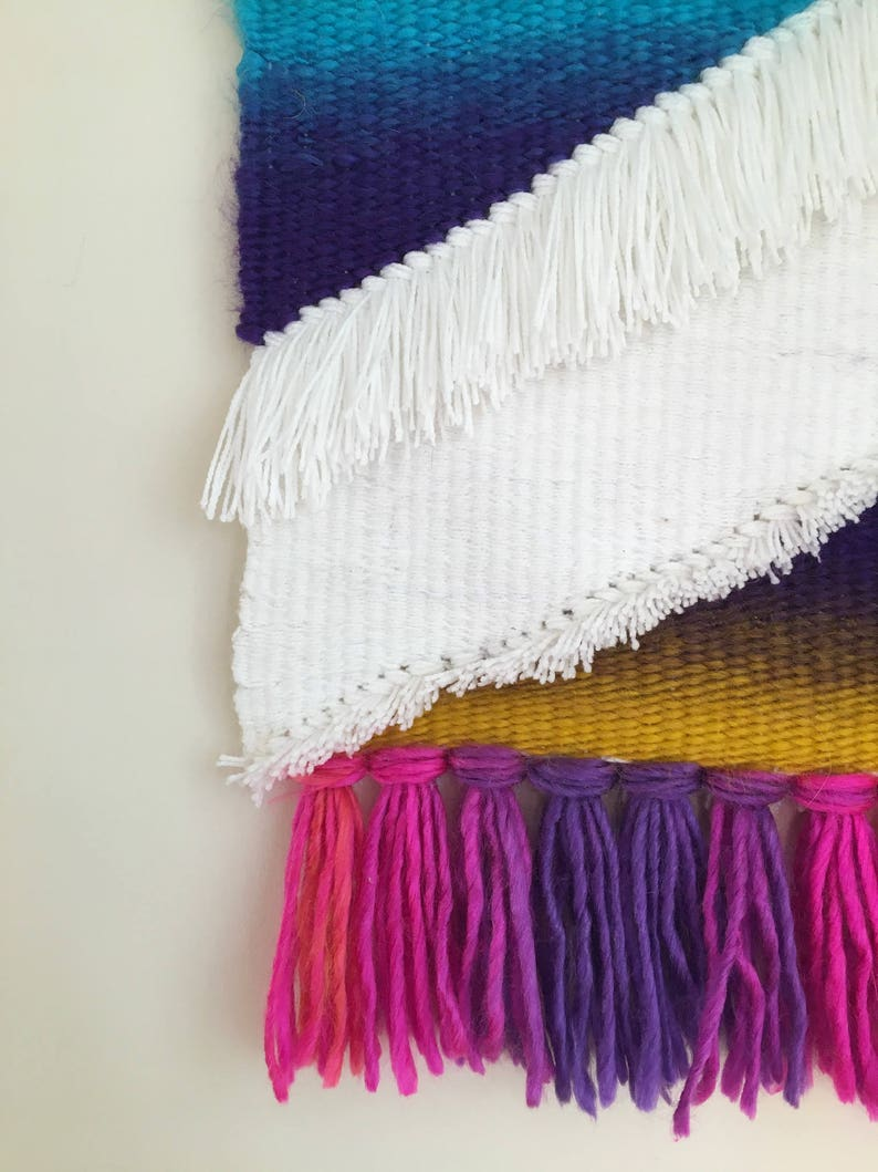 Fading Rainbow colourful large scale weaving hand woven ombre rainbow stripes wall tapestry wall hanging textural weave