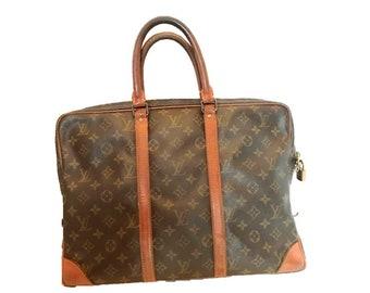 Louis Vuitton Monogram Canvas Porte Documents Voyage Briefcase Bag    Vintage Louis Vuitton   Louis Vuitton Briefcase   Gift 638882324ca