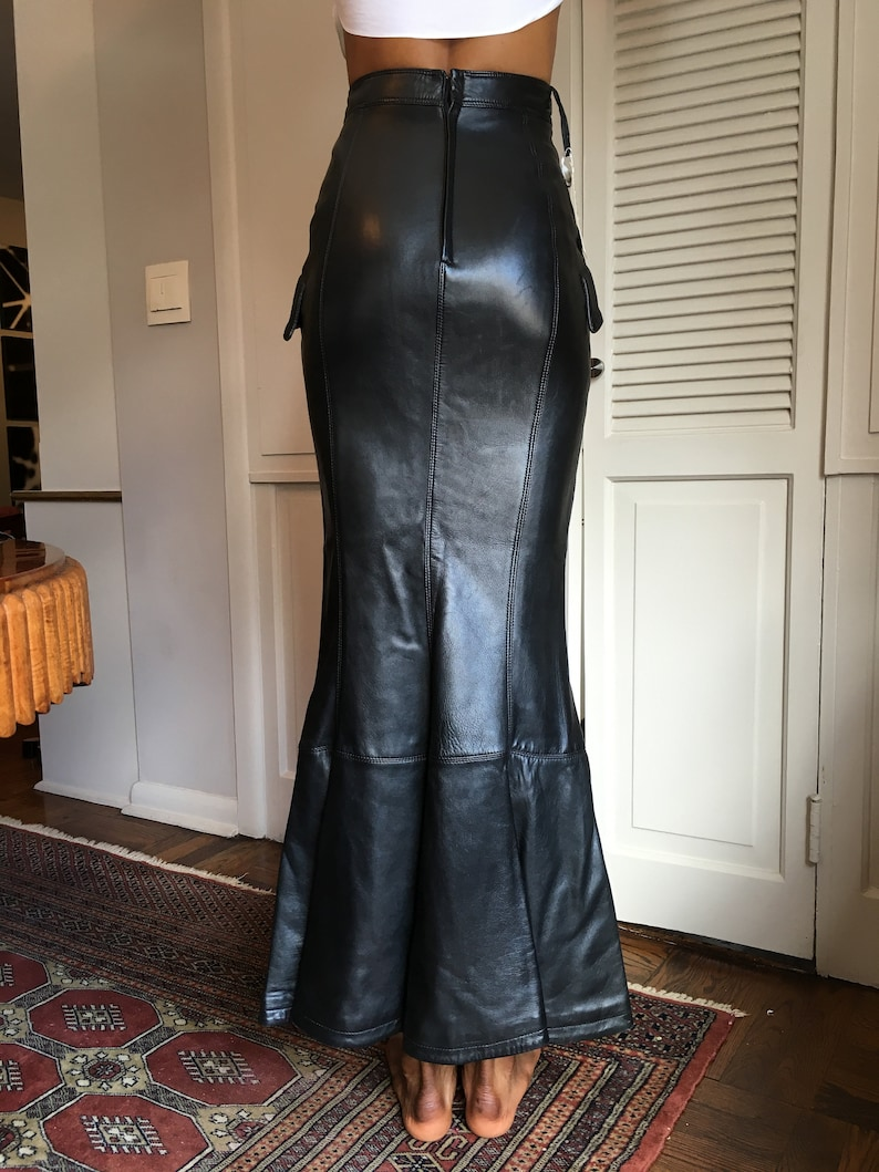 96dbb53d Gianni Versace Vintage Long Leather Skirt