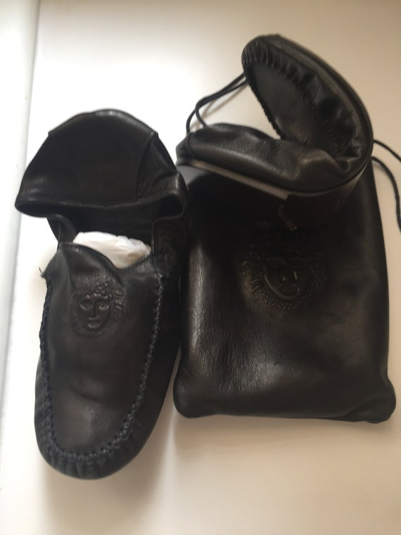 Gianni Versace Leather Travel Slippers in Leather