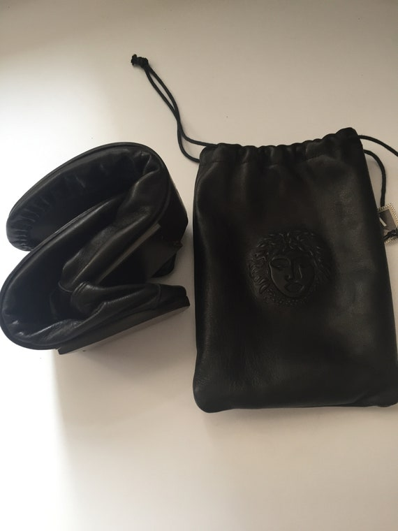 Gianni Versace Leather Travel Slippers in Leather… - image 10