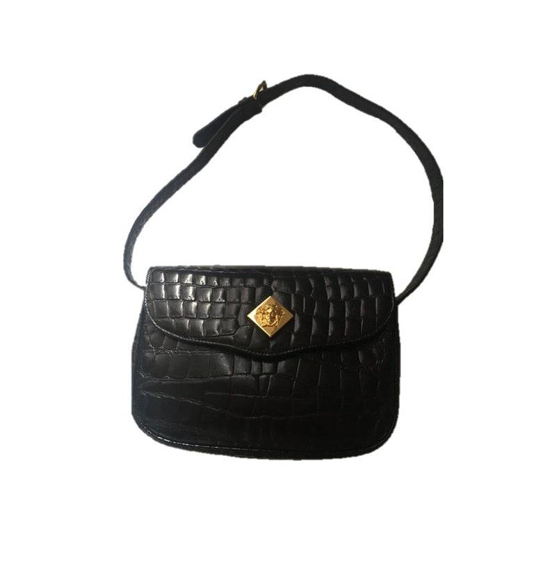 Vintage Gianni Versace Handbag Alligator Embossed Leather  cfa3c1cb2ed19