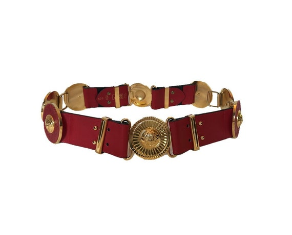 Vintage Gianni Versace Medusa Medallion Red And Gold Belt Versace Belt Vintage Belt Gianni Versace Vintage Red Embossed Leather