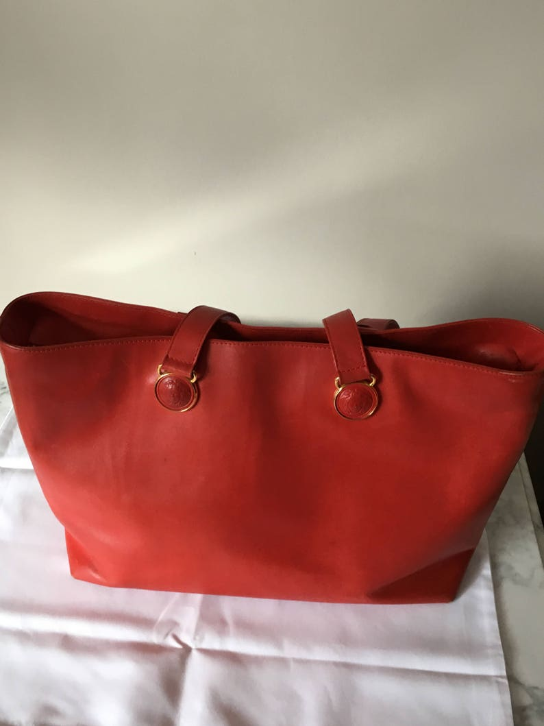 f607a51c3a54 Valentine Gianni Versace Couture Large Red leather Tote Bag