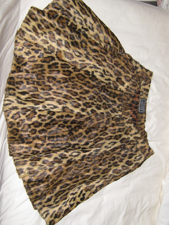 Gianni Versace Couture Leopard Print  Pleated Skir