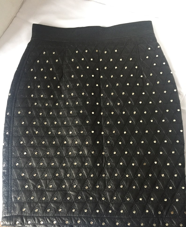 89a9c813 Gianni Versace Vintage Black Leather Quilted Skirt with Prong Set Crystals