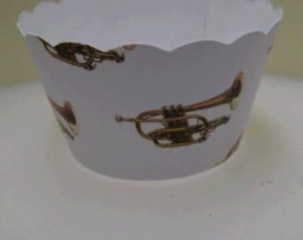 CUPCAKE WRAPPERS - Musical Instrument Cornet Design x 10 cup cake wraps ~ Cream LMCCCOR