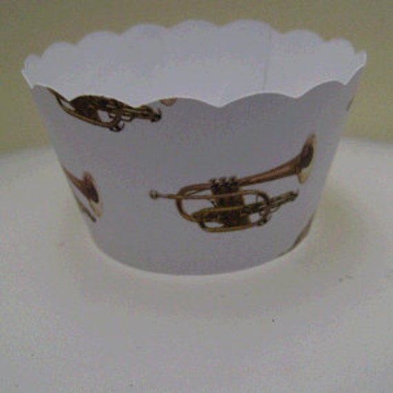 Cupcake Wrappers Musical Instrument Cornet Design X 10 Cup Etsy