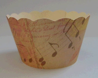 CUPCAKE WRAPPERS - Vintage Printed Music Design x 10 cup cake wraps ~ Cream CCVL12