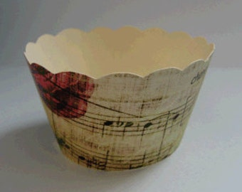 CUPCAKE WRAPPERS - Vintage Printed Music Design x 10 cup cake wraps ~ Cream CCVL14