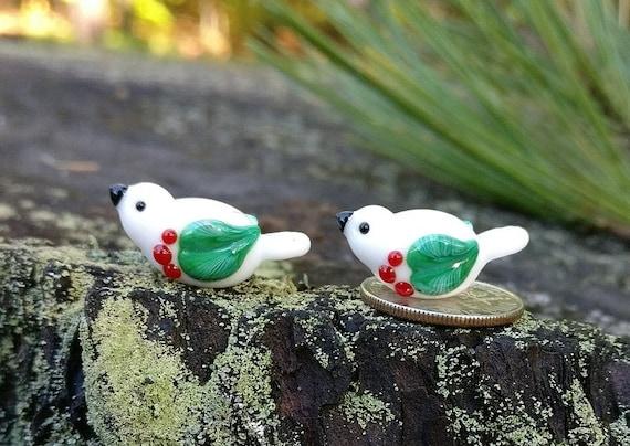 Lampwork christmasbird pair