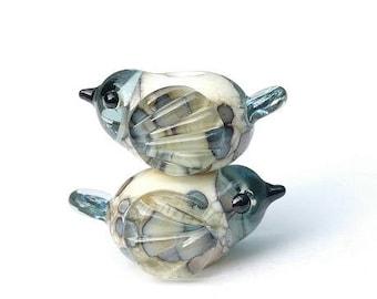 Lampwork Bird Beach Pebble PAIR OR SINGLE/ Lampwork Bird Beads/ Beach Glass Birds/ Earrings Pair/ Handmade Lampwork Beads
