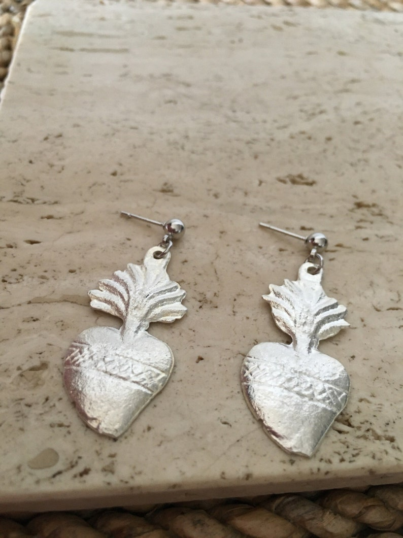 Very limited availability Stunning Authentic Mexican Pewter Sacred Heart Earrings Sacred Heart with flames Milagros