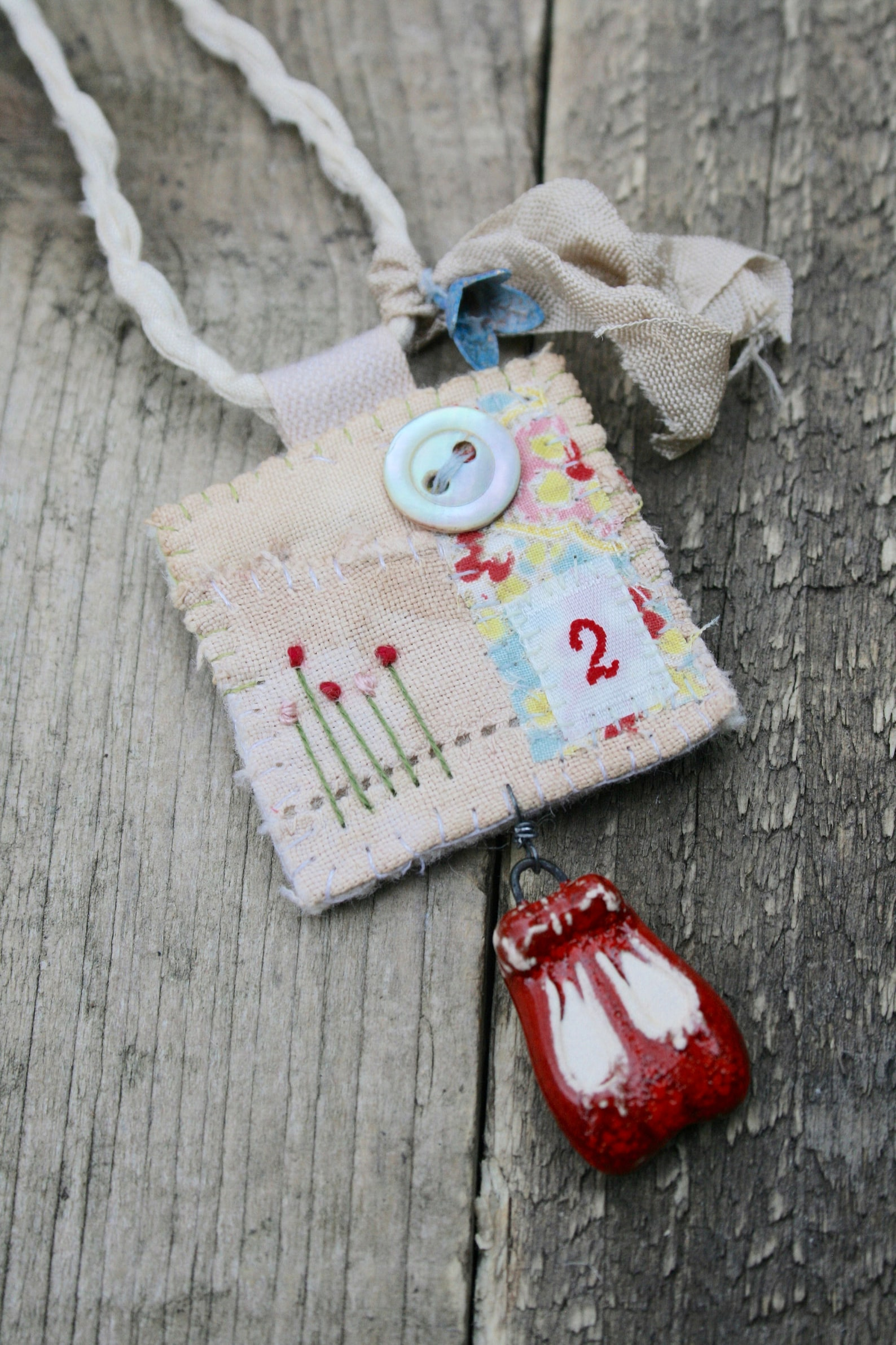textile pendant, ballet shoe pendant, fabric pendant, fabric necklace, textile art, embroidered pendant, shoe necklace, recycled