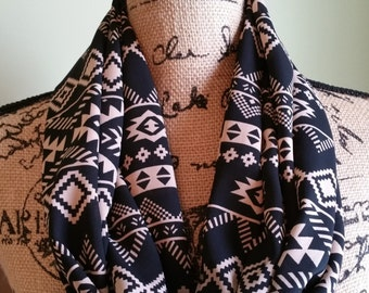 Black & Taupe Aztec Infinity Scarf