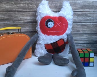 Hug Monster with horns, red and grey with red and black plaid on the  pocket, friendly monster for kid,birthday/christmas gift,ready to go