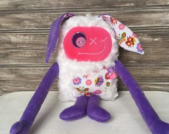Hug Monster with rabbit ears, girl plush, lilac and pink, baby shower, christmas,  easter or birthday gift, easter bunny, soft toy,  doll