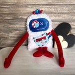 Cuddle Monster plush, toy for boys, red and blue with firefighters truck and police car, cute monster for boy, birthday/baby shower gift