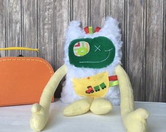Hug Monster plush with horns,  yellow and dark green with train print on the pocket, worry eater, baby boy shower or birthday gift, soft toy