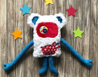 Cuddle Monster plush with bear ears, Made in Canada, red and grey, pocket with cat and mice, baby shower, birthday or easter gift, nursery